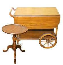 Henkel Harris Dining Room Furniture Vintage Cherry Wood Tea Cart And Henkel Harris Pedestal Table Ebth