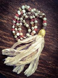 boho stone necklace images Silk ribbon tassel necklace shabby style boho chic sari silk jpg