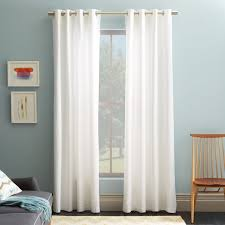 White And Teal Curtains Cotton Canvas Grommet Curtain White West Elm