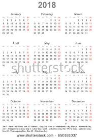 simple calendar 2018 one year glance stock vector 650181037