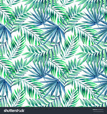 watercolor tropical leaves seamless pattern jungle leaves on stunning blue green palms wall mural from wallsauce this high quality blue green palms wallpaper is custom made to your dimensions