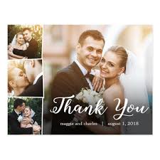 wedding thank you cards overlapped photos wedding thank you card postcard zazzle