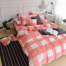 Velvet Comforters King Size Fashionable Pink White Big Grid Velvet Bedding Set Queen King