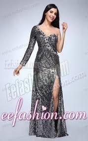 one shoulder long sleeve sequin dress dress yp