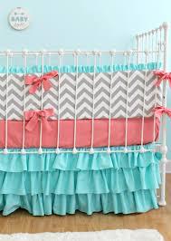 Pink And Aqua Crib Bedding Pink And Aqua Chevron Crib Bedding Bedding Designs