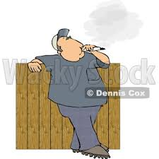 Backyard Clip Art Smoking A Big Cigarette In His Backyard Against A Fence Clipart
