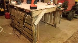diy pallet work table pallet work table by cedar furniture lodge lumberjocks com