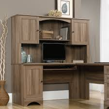 Home Computer Desks With Hutch Furniture L Shaped Salt Oak Wood Corner Computer Desk With Hutch