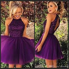2016 short purple tulle homecoming dresses for summer 8th grade