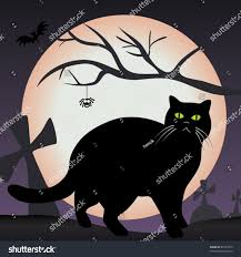 black cat graveyard scary halloween vector stock vector 81927079
