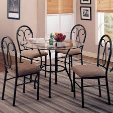 Rod Iron Dining Room Set Mesmerizing Black Color Wrought Iron Kitchen Table Set With Black