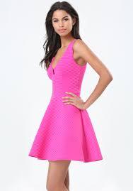 va va voom dresses lyst bebe va va voom flared dress in pink