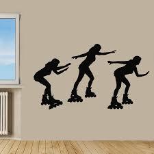 roller skate wall decals woman skating three sport girls vinyl zoom