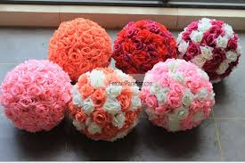 Pomander Balls Rose Flower Pomander Wedding Decoration Ball Silk Kissing Ball