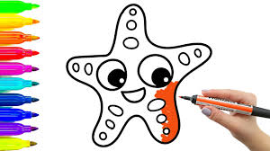 simple example how to draw starfish coloring book with colored