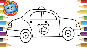 draw police car colouring book simple drawing game