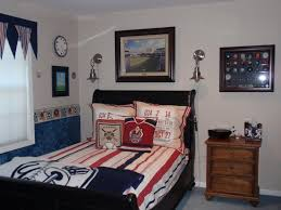 bedroom blue spiderman wall theme connected by blue wooden bed