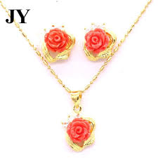 gold red rose necklace images Buy jy cute gold color long necklace red rose jpg