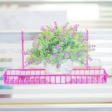 Flower Pot Holders For Fence - chris wang iron wire outdoor rectangle plant caddy patio fence