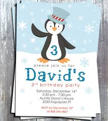 winter penguin boy birthday party invitation