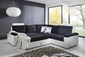canapé noir et blanc convertible canapé d angle convertible design en tissu coloris blanc noir