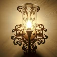 Iron Candle Wall Sconce Glass Shade Candle Wall Sconces Wrought Iron