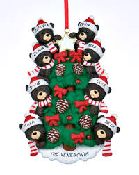 black bear tree family 8 personalized ornament