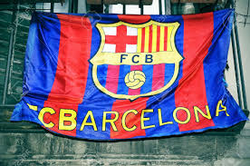 Flag Hanging A Fc Barcelona Flag Hanging On A Balcony Stock Photo Picture And