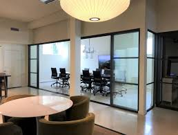 activity based work space with interior glass room dividers