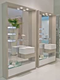 interior fantastic white theme small bathroom with square wall