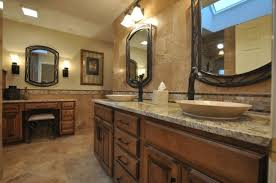 formal bathroom ideas with wooden mahogany cabinetry and elegant