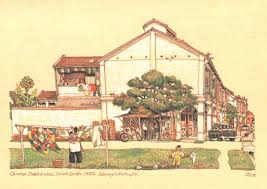 8 postcards on life and colonial architecture in malaya during
