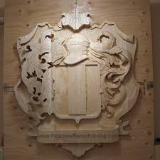 family wood carved family coat of arms family crest woodcarving and