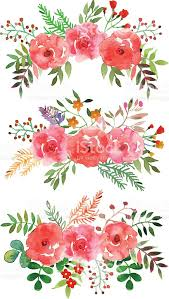 Watercolor Flowers - vector floral set with watercolor flowers stock vector art
