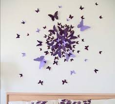 3d butterfly wall decor with purple color ideas
