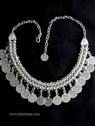 silver plated necklace images Turkish jewelry double row gyspy necklace with coins JPG