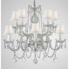 White Chandelier With Shades 10 Light Empress Crystal Chandelier With White Shades T22 1823