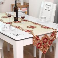 yazi european yarn embroidered flower table runner tablecloth