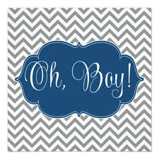 baby boy baby shower chevron navy blue gray boy baby shower square paper invitation card