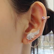cuff earrings with chain 2015 new style fashion ear cuff jewelry inlay clear zircon