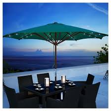 corliving green patio umbrella with solar power led lights target