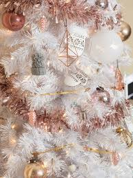 white tree with gold and pink decorations