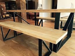 reclaimed wood and iron dining table 2m with benches