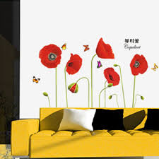 Home Decor Online Sales Bright Red Corn Poppy Beautiful Diy Wall Wallpaper Stickers Art