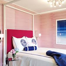 Pink And Blue Bedroom Metal Canopy Bed With Pink And Blue Pillows Transitional Bedroom