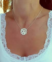 monogram necklace small monogram necklace 1 inch sterling silver monogrammed