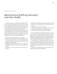 chapter 4 maintenance staffing calculator and user guide