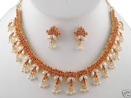 pearl earrings necklace images Coral pearl necklace with matching earrings and pearl hangings jpg