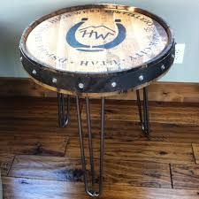 whiskey barrel side table high west whiskey barrel table the spotted door