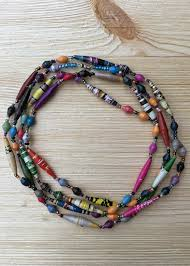 necklace from beads images Long traditional handmade paper bead necklace from uganda jpeg